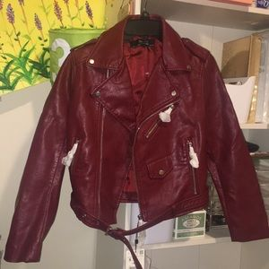 Zara PU Jacket Red color/ S, brand new with tag